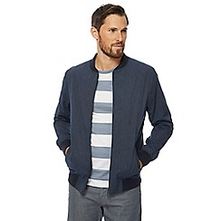 J by Jasper Conran - Big and tall navy striped regular bomber jacket