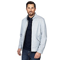 J by Jasper Conran - Big and tall blue pindot regular fit harrington jacket