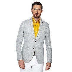 J by Jasper Conran - Big and tall grey linen regular fit blazer