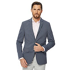 J by Jasper Conran - Big and tall grey striped regular blazer