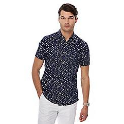 J by Jasper Conran - Blue chevron print short sleeve shirt