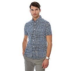 J by Jasper Conran - Blue grid check print short sleeve shirt