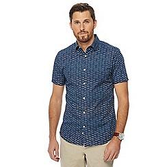 J by Jasper Conran - Big and tall blue broken bricks print short sleeve regular fit shirt