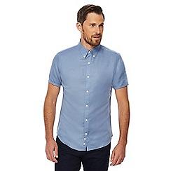 J by Jasper Conran - Big and tall blue linen blend twill shirt
