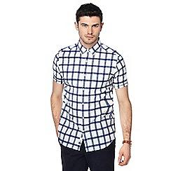 J by Jasper Conran - Big and tall navy checked short sleeve regular fit shirt