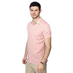 J by Jasper Conran - Big and tall pink linen blend short sleeve shirt