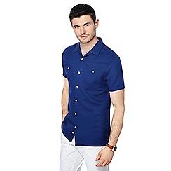 J by Jasper Conran - Blue linen blend short sleeve shirt