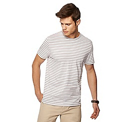 J by Jasper Conran - Big and tall grey stripe print crew neck t-shirt