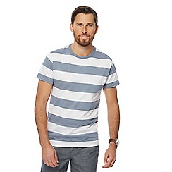 J by Jasper Conran - Big and tall blue block stripe crew neck t-shirt