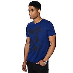 J by Jasper Conran - Big and tall royal blue abstract print crew neck t-shirt