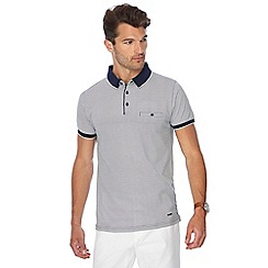 J by Jasper Conran - Big and tall white optic print slim fit polo shirt