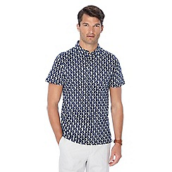 J by Jasper Conran - Royal blue abstract print slim fit polo shirt
