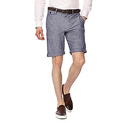 J by Jasper Conran - Blue linen blend regular fit shorts