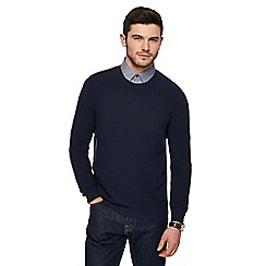 J by Jasper Conran - Big and tall navy textured crew neck jumper