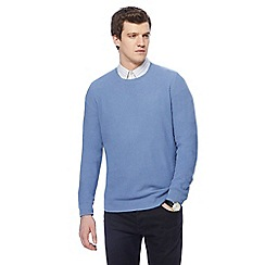 J by Jasper Conran - Blue textured crew neck jumper
