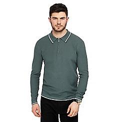 J by Jasper Conran - Green zip neck polo shirt