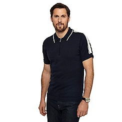 J by Jasper Conran - Navy shoulder stripe knitted polo shirt