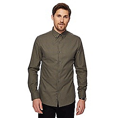 J by Jasper Conran - Big and tall khaki marl grid check long sleeve shirt