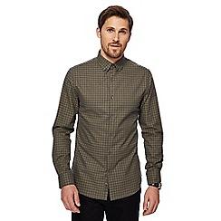 J by Jasper Conran - Khaki marl grid check long sleeve shirt