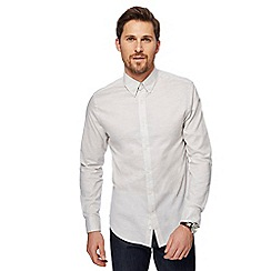 J by Jasper Conran - Big and tall light grey marl Oxford shirt