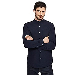 J by Jasper Conran - Big and tall navy seersucker grandad collar shirt