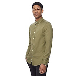 J by Jasper Conran - Khaki linen blend twill shirt