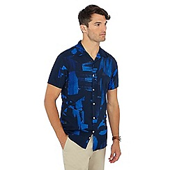 J by Jasper Conran - Big and tall bright blue painted print short sleeve shirt