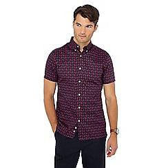 J by Jasper Conran - Navy hexagon print short sleeve shirt