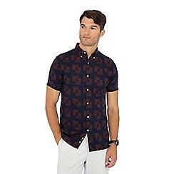 J by Jasper Conran - Navy geometric print short sleeve shirt