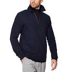 J by Jasper Conran - Navy herringbone zip neck sweater