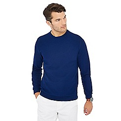 J by Jasper Conran - Big and tall blue herringbone textured sweatshirt