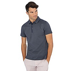 J by Jasper Conran - Dark blue jacquard textured polo shirt