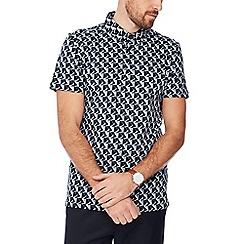 J by Jasper Conran - Big and tall light grey abstract print cotton polo shirt