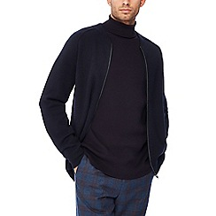 J by Jasper Conran - Navy 'Milano' lambswool zip through cardigan