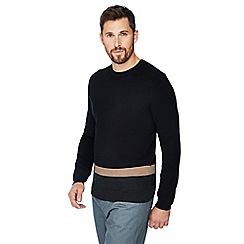 J by Jasper Conran - Black colour block crew neck jumper