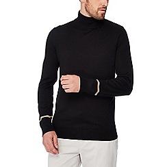 J by Jasper Conran - Black merino wool blend roll neck jumper