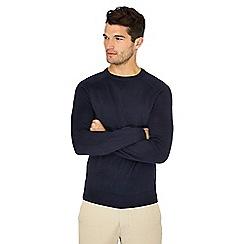 J by Jasper Conran - Navy merino wool mix crew neck jumper
