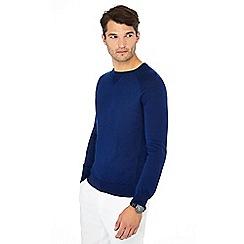 J by Jasper Conran - Mid blue merino wool mix crew neck jumper