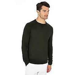 J by Jasper Conran - Dark olive merino wool mix crew neck jumper