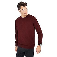 J by Jasper Conran - Maroon crew neck Merino wool jumper