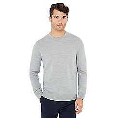 J by Jasper Conran - Pale grey crew neck wool jumper