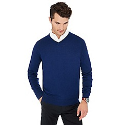 J by Jasper Conran - Blue V-neck Merino wool jumper