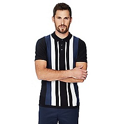 J by Jasper Conran - Black knitted stripe panel cotton polo shirt