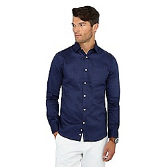 J by Jasper Conran - Navy shard print long sleeve regular fit shirt