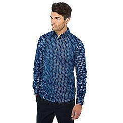 J by Jasper Conran - Big and tall blue jelly bean print long sleeve regular fit shirt