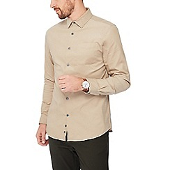 J by Jasper Conran - Taupe baby cord long sleeve regular fit shirt