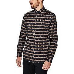 J by Jasper Conran - Taupe large spot print long sleeve regular fit shirt