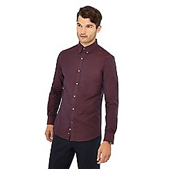 J by Jasper Conran - Dark red long sleeve regular fit Oxford shirt