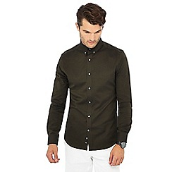J by Jasper Conran - Khaki long sleeve regular fit Oxford shirt