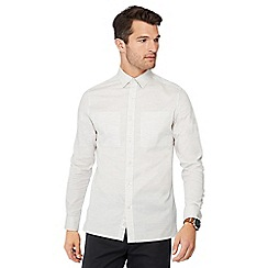J by Jasper Conran - Light grey cotton long sleeve regular fit shirt